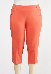 Plus Size Cropped Coral Sailor Pants