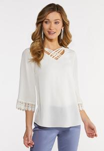 Criss Cross Lace Sleeve Top
