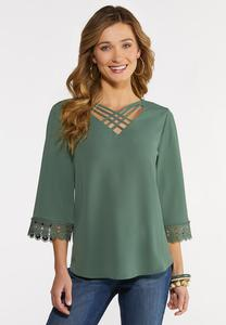 Plus Size Criss Cross Lace Sleeve Top