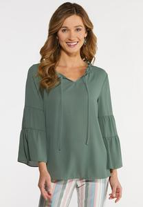 Plus Size Tiered Poet Sleeve Top