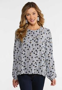 Plus Size Navy Floral Top