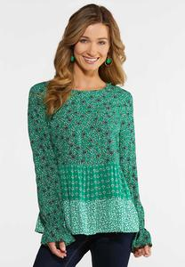 Green Mixed Floral Top