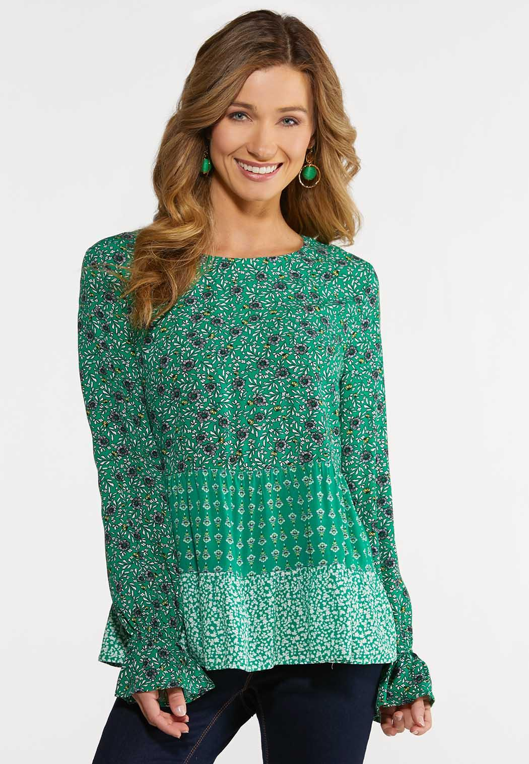 Plus Size Green Mixed Floral Top