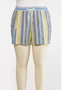 Plus Size Denim Stripe Linen Shorts
