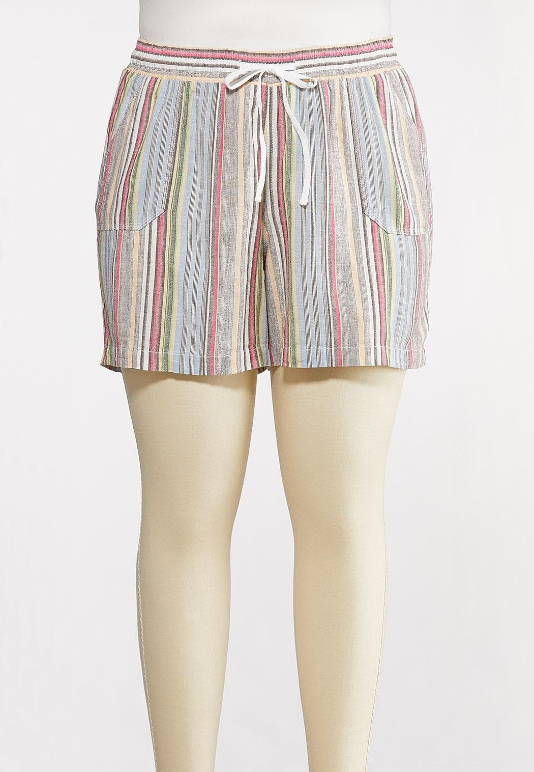 Plus Size Muted Stripe Beach Shorts