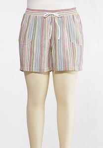 Plus Size Muted Stripe Beach Shorts