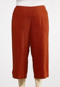 Plus Size Cropped Solid Linen Pants