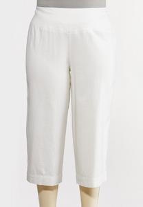 Plus Size Cropped Solid Linen Pants