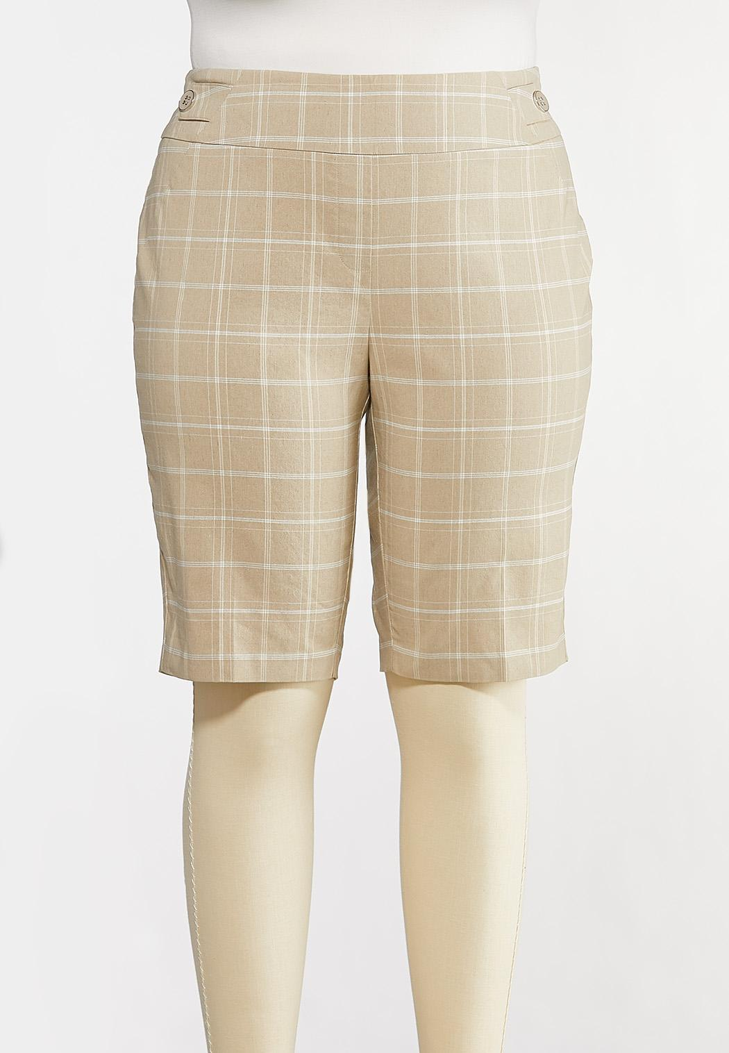 Plus Size Windowpane Bermuda Shorts