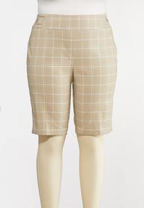 Plus Size Windowpane Bermuda Shorts