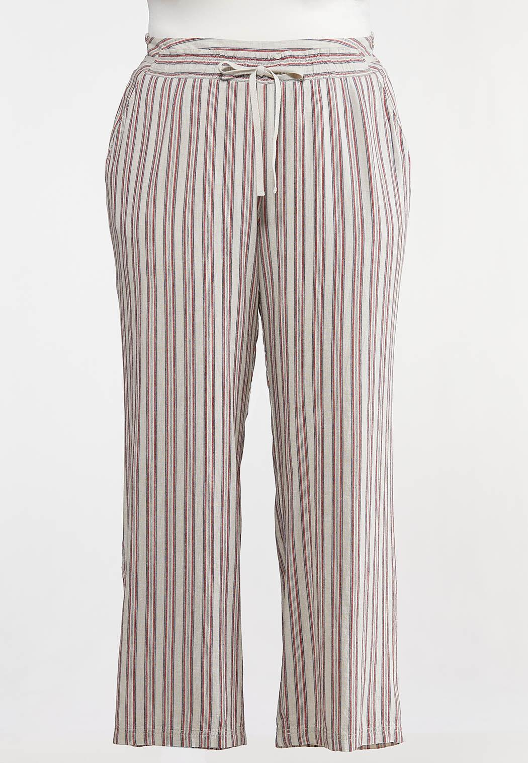 Plus Size Americana Striped Pants