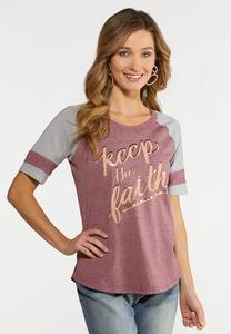 Plus Size Keep The Faith Baseball Tee