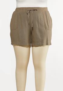 Plus Size Drawstring Linen Shorts