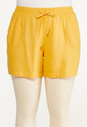 Plus Size Drawstring Linen Shorts