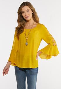 Golden Lattice Sleeve Top