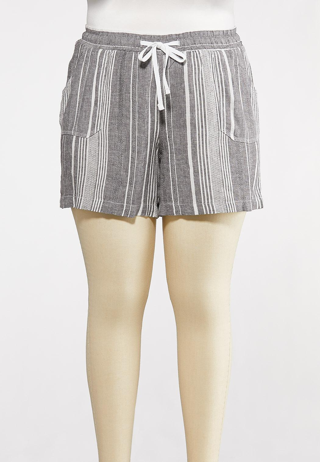Plus Size Gray Stripe Linen Shorts
