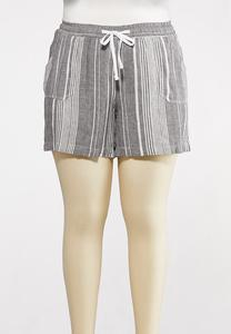 Plus Size Gray Stripe Linen Shorts