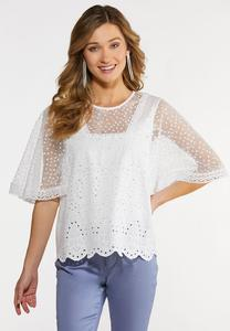 Plus Size White Eyelet Mesh Top