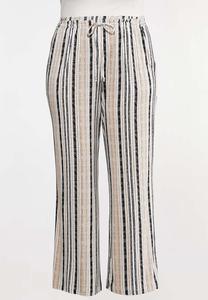 Plus Size Neutral Striped Pants