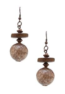 Wood Disc Ball Dangle Earrings