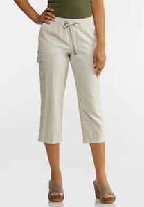 Linen Crop Cargo Pants