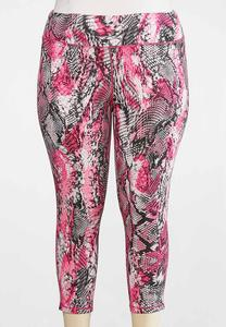 Plus Size Pink Snakeprint Leggings
