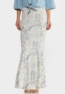 Plus Size Paisley Mermaid Maxi Skirt