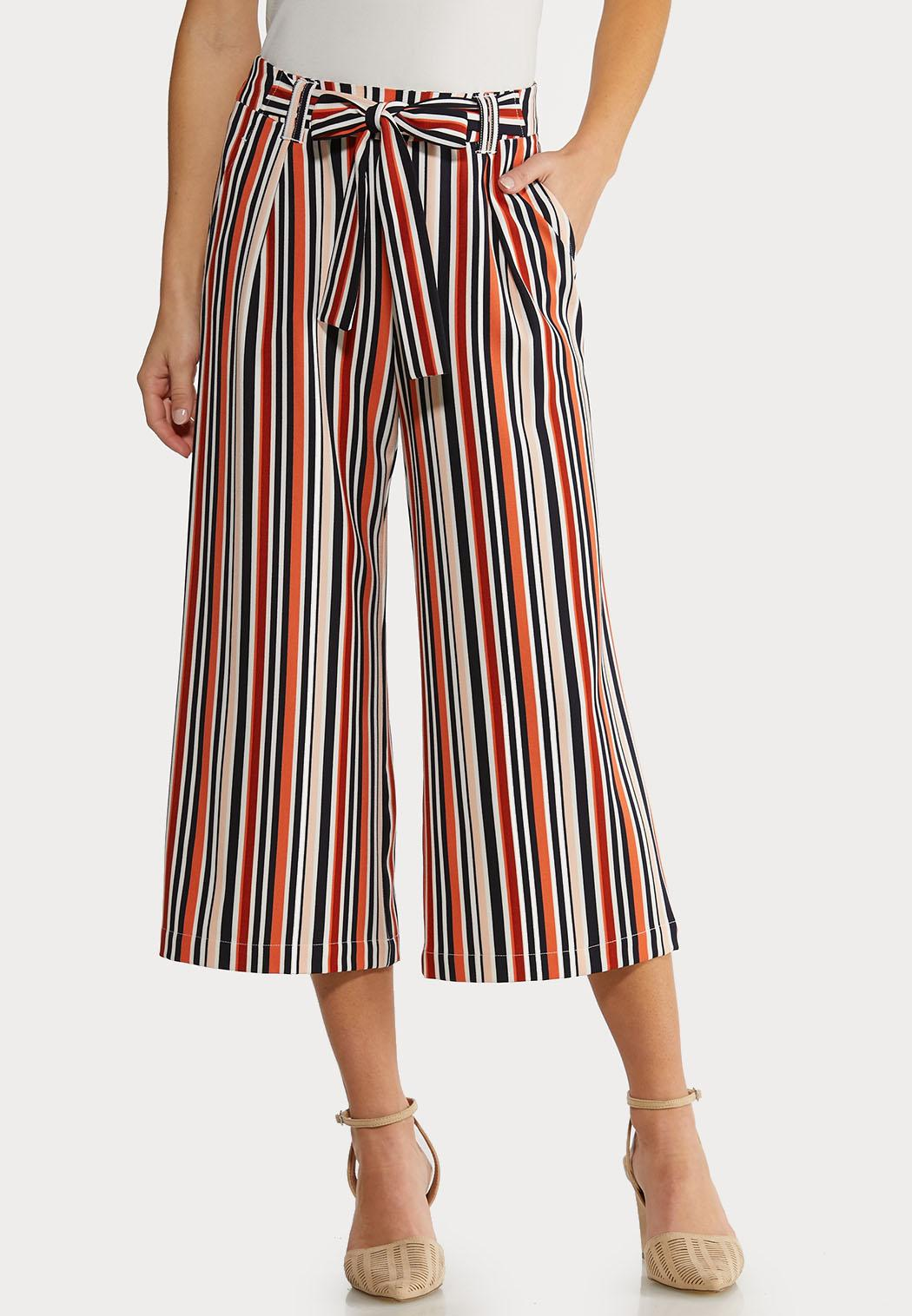 Cropped Rust Stripe Pants