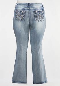 Plus Size Stone Embellished Jeans