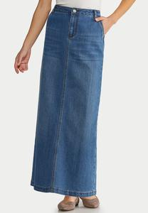 Plus Size Denim Back Pleat Maxi Skirt