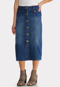 Plus Size Button Front Denim Midi Skirt