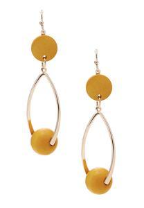 Wood Bead Hoop Dangle Earrings