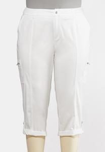 Plus Size Cropped Utility Cargo Pants