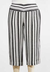 Plus Size Metallic Stripe Cropped Pants