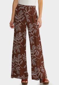Brown Leaf Palazzo Pants