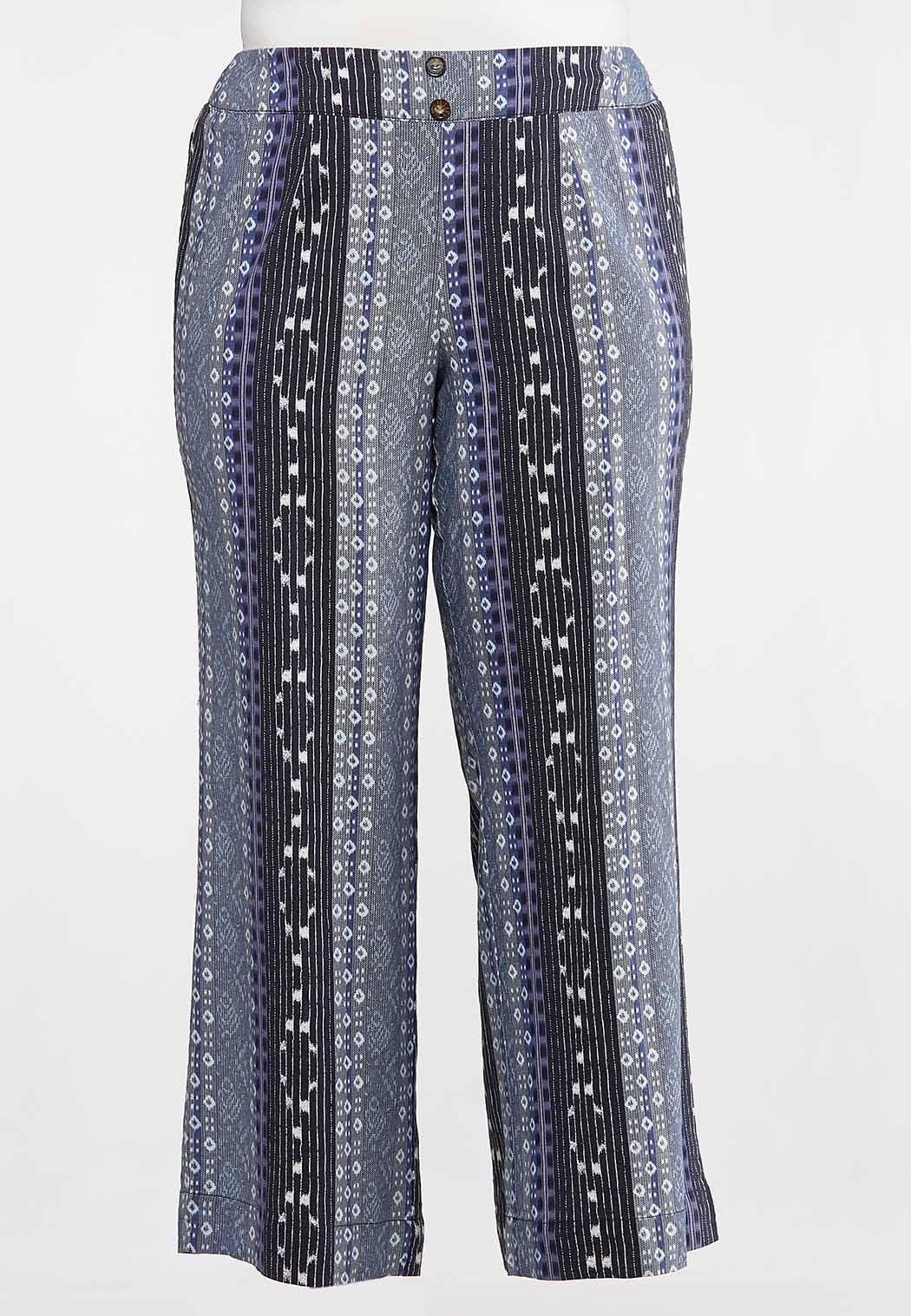 Plus Size Geo Linen Pants