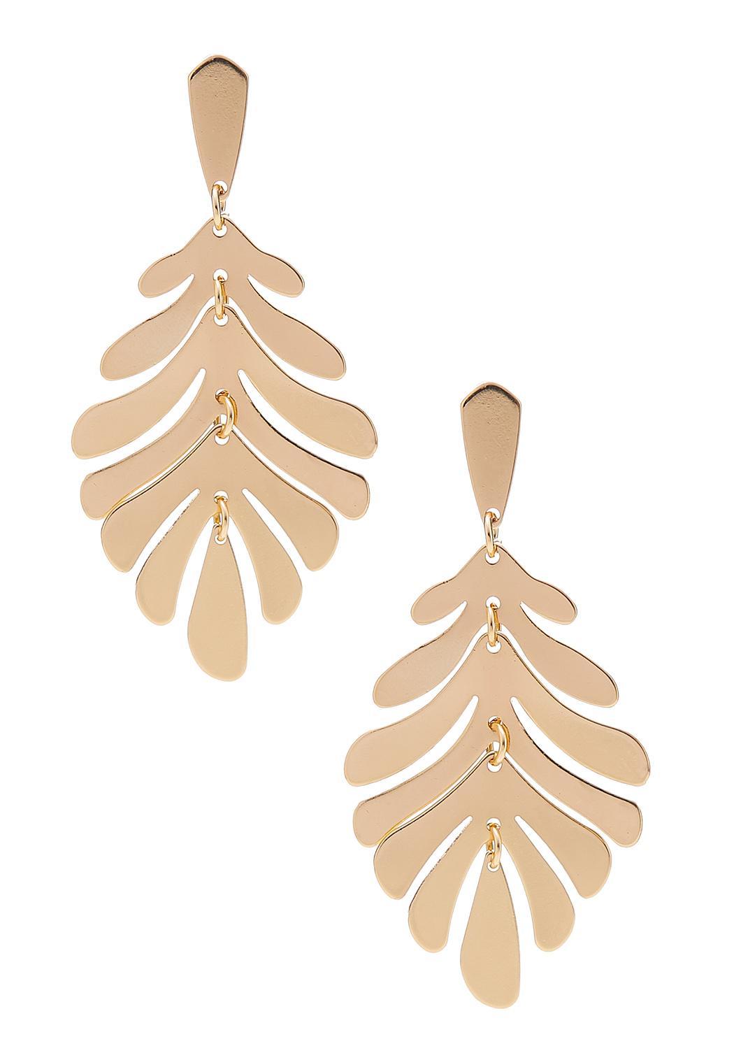 Gold Metal Leaf Earrings