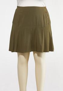 Plus Size Olive Button Skort