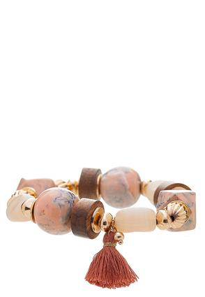 Chunky Tasseled Stretch Bracelet
