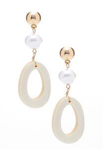 Wood Hoop Pearl Ball Earrings