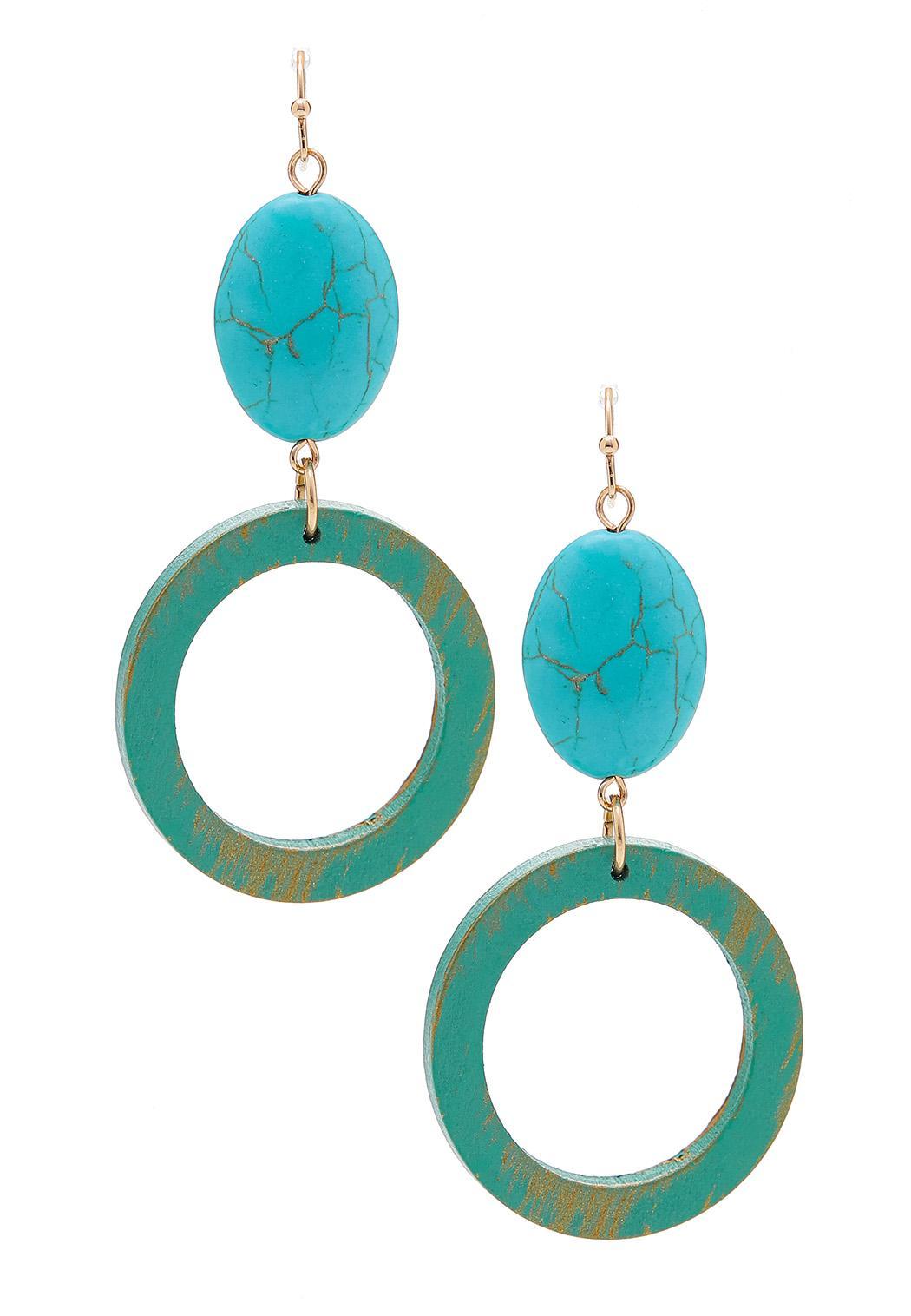 Southwestern Wood Circle Earrings