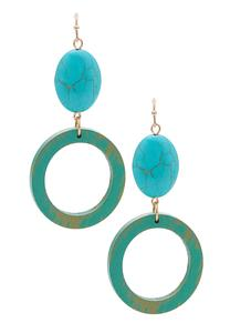 Southwestern Wood Circle Earrings