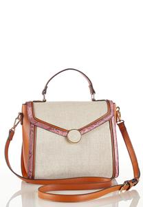 Snake Trim Canvas Crossbody