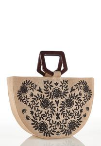 Embroidered Half Moon Satchel