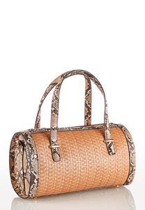 Snake Trim Barrel Handbag