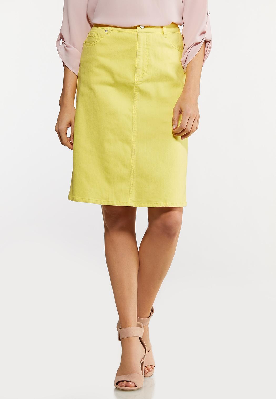 Color Denim Pencil Skirt