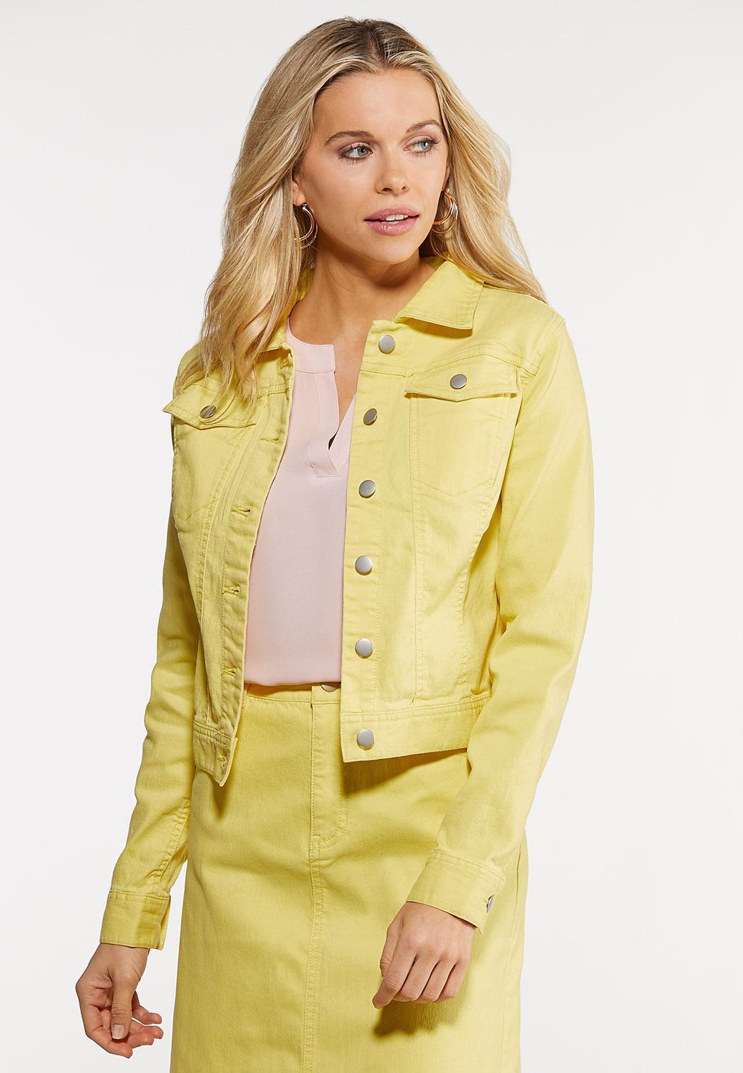 Plus Size Color Denim Jacket