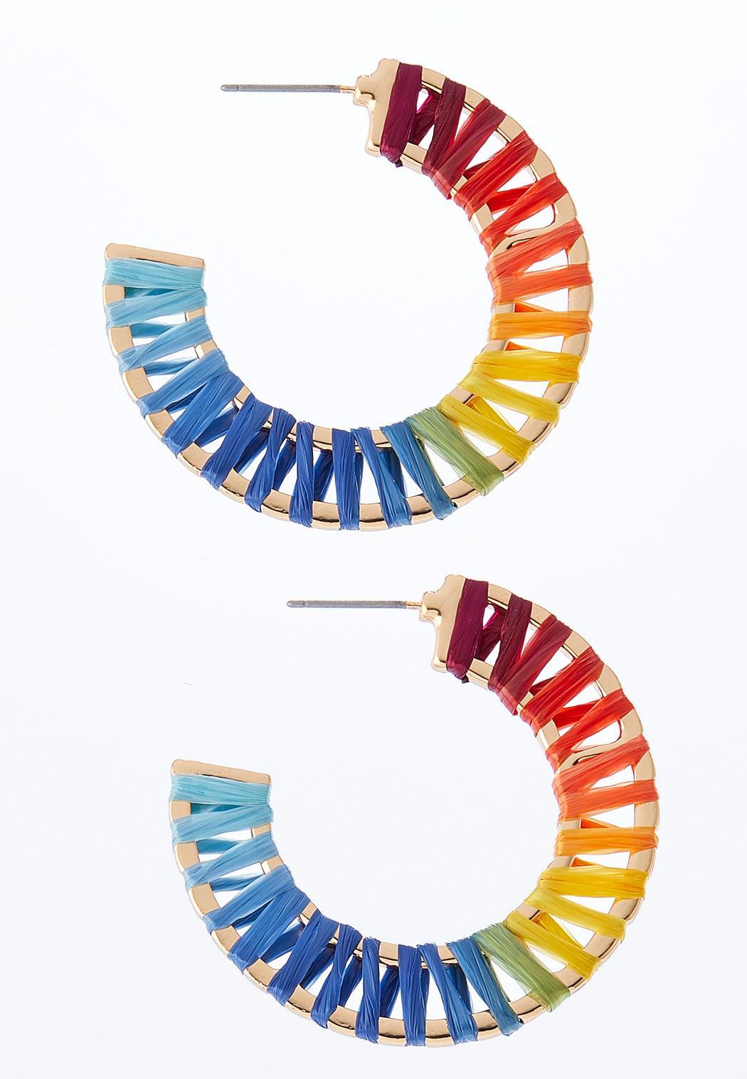 Rainbow Raffia Hoop Earrings
