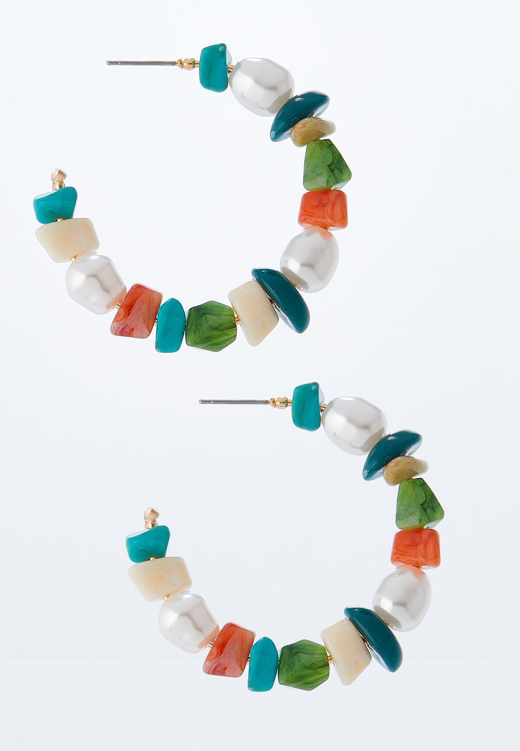 Multi Color Stone Hoop Earrings