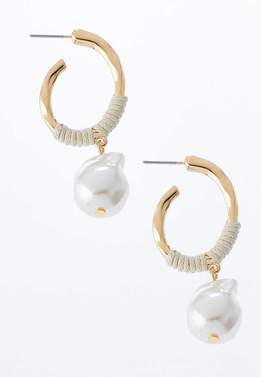 Dangling Pearl Hoop Earrings